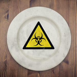 bio warning sign on plate
