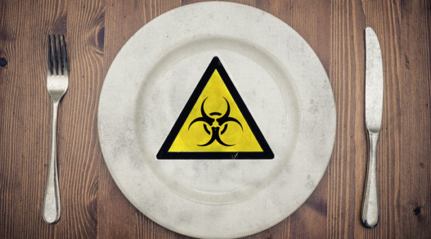 bio warning sign on plate