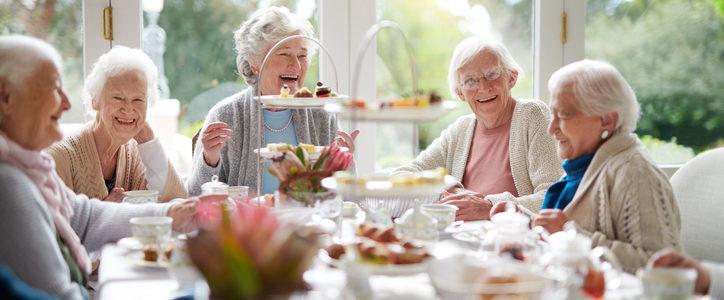 senior women at tea party